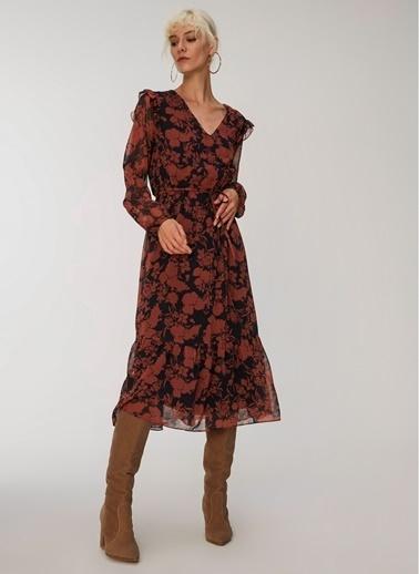 People By Fabrika Desenli Uzun Elbise Kiremit